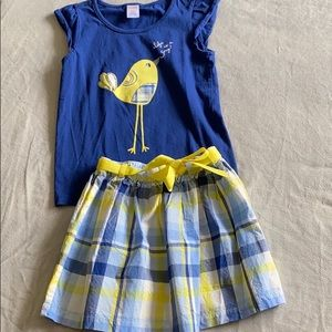 Gymboree size 7 top and 6 skirt